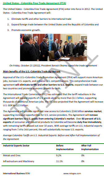 United States Colombia Free Trade Agreement